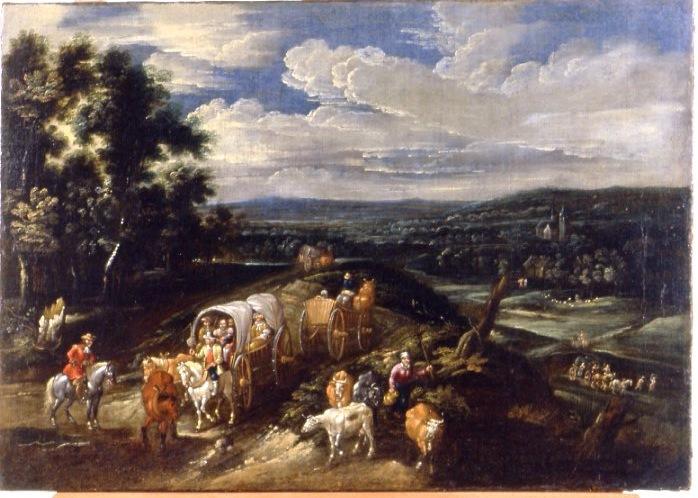 Brueghel - Paesaggio boscoso con viaggiatori