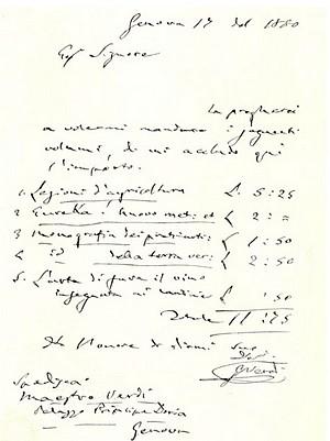 Lettera di Giuseppe Verdi