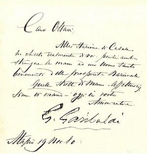 Lettera di Giuseppe Garibaldi
